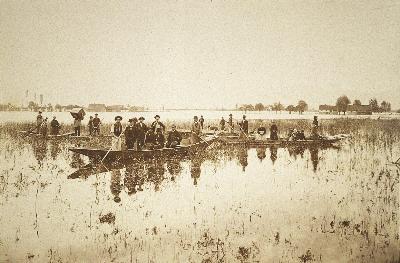 Rheinüberschwemmung in Hohenems-Bauern 1888