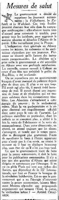 JOURNAUX ALSACIENS 1927