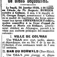 1920 : Liquidation de biens séquestrés
