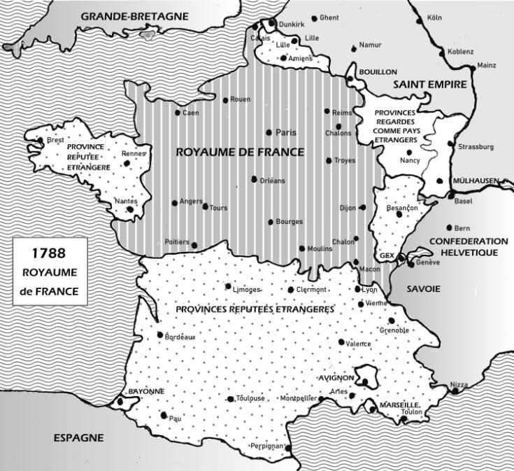 MAP FRANCE 1788