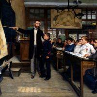 France 1882  : École obligatoire, gratuite et guerrière.